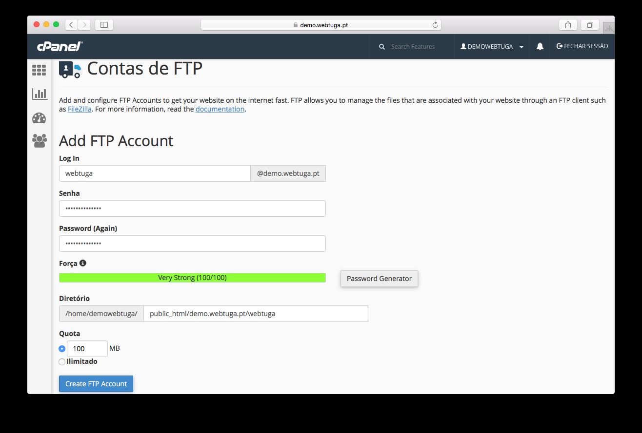 cPanel - Conta FTP